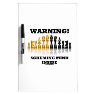 Warning! Scheming Mind Inside (Chess Set) Dry Erase Board