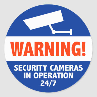 Warning Security Camera Signs Classic Round Sticker