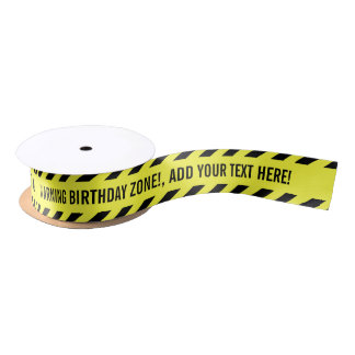 WARNING! Your Custom Text Do Not Cross Tape Satin Ribbon