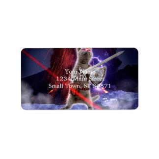 warrior cats - knight cat - cat laser address label