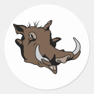 Warthog Head Classic Round Sticker