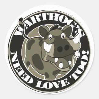 Warthog Love Classic Round Sticker