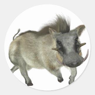 Warthog Running Left Classic Round Sticker