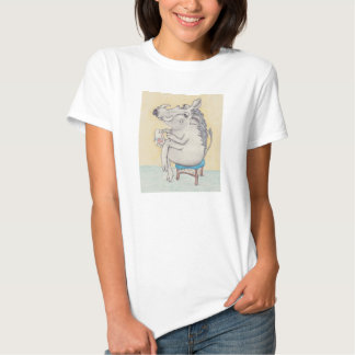 Warthog with embroidery hoop, and cup of tea tshirts