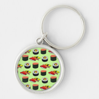 Wasabi Green Sushi Silver-Colored Round Key Ring