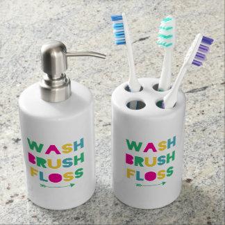 Wash Brush Floss Bathroom Set