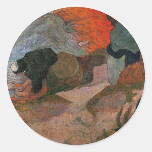 Washerwomen by Paul Gauguin Round Stickers