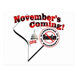 Washington DC Anti ObamaCare – November's Coming! Postcard