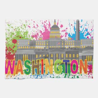 Washington DC Skyline Paint Splatter Illustration Tea Towel