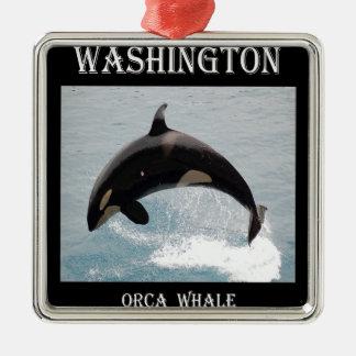 Washington Orca Whale Silver-Colored Square Decoration