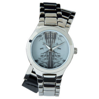 """Watch """"Fly free"""" Abstract  Wraparound Silver Watch"""
