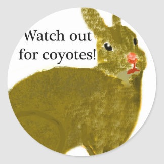 Watch Out for Coyotes Classic Round Sticker