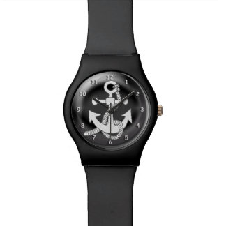 Watch - White Anchor on  3D black background