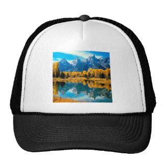 Water Autumn Grand Teton National Park Mesh Hats