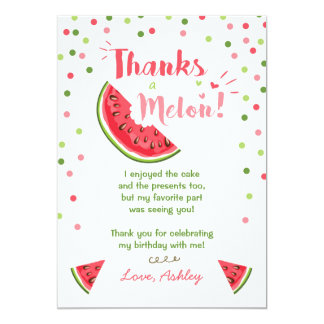 Water Birthday Party Melon Thank You Card Summer 13 Cm X 18 Cm Invitation Card