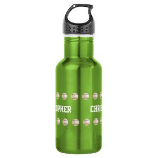 Water Bottle, Personalized, Baseball, Green 532 Ml Water Bottle