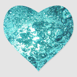 Water Bubbles Heart Sticker