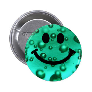 Water bubbles smiley 6 cm round badge