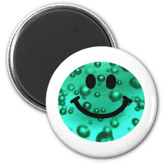 Water bubbles smiley 6 cm round magnet