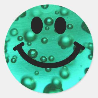 Water bubbles smiley round sticker