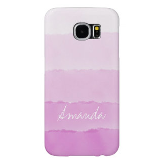 Water Color pink ombre Stripes Custom name Samsung Galaxy S6 Cases