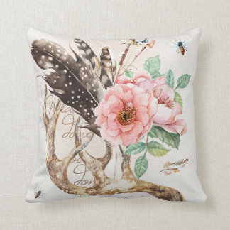 Water colour antler pillow