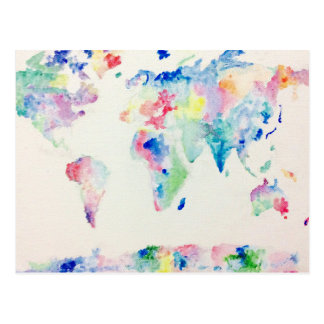 water colour world map postcard