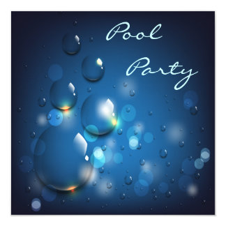 Water Droplets Pool Party Card