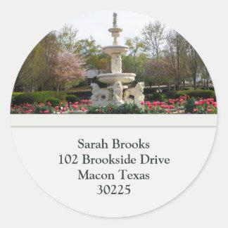 Water Fountain Address Labels Round Sticker