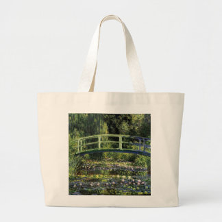 Water Lilies and Japanese Bridge Large Tote Bag