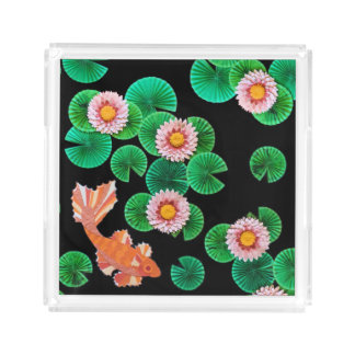 Water Lilies and Koi Fish Square Tray