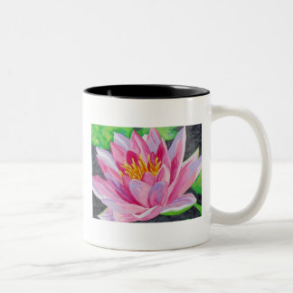Water Lilly in pink Two-Tone Coffee Mug