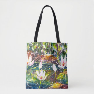 Water Lilly Pond watercolor tote bag