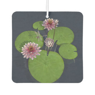 Water Lily and Dragonfly Car Air Freshener