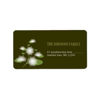 Water Lily Elegant Simple Contemporary Wedding Address Label