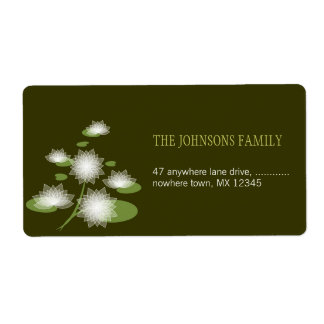 Water Lily Elegant Simple Contemporary Wedding Shipping Label