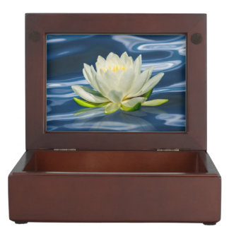 Water Lily Reflected on Blue Water Keepsake Box