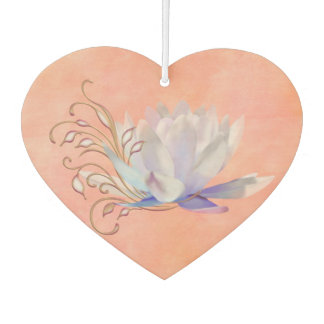 Water Lily with Decorative Swirls Car Air Freshener