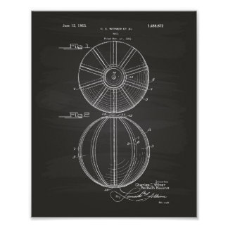 Water Polo Ball 1923 Patent Art Chalkboard Poster