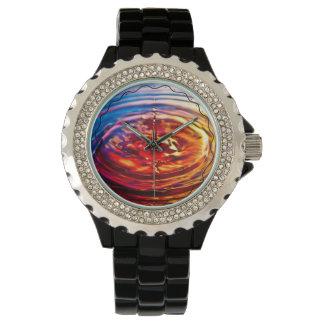 Water Ripple Black Enamel Rhinestone Crystal Watch
