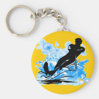 Water Skiing Basic Round Button Key Ring