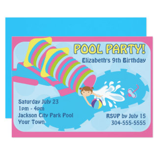 Water Slide Pool Party 13 Cm X 18 Cm Invitation Card