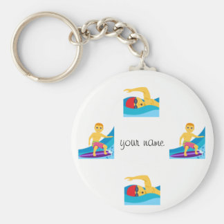 """Water Sport Emoji and '' Your Name Here """" Key Ring"""