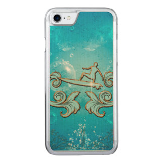 Water sport, surfboarder with bubbles carved iPhone 7 case