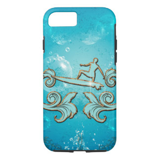 Water sport, surfboarder with bubbles iPhone 7 case
