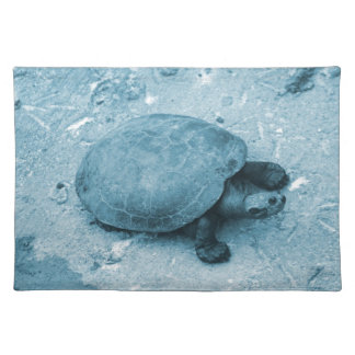 water turtle on bank blue tint reptile placemat