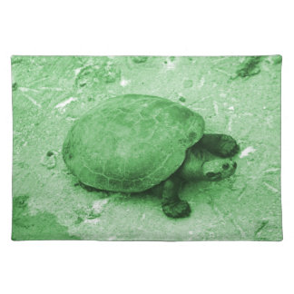 water turtle on bank green reptile placemat