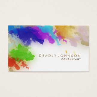Watercolor Abstract Elegant Cool Multi-color Brown Business Card