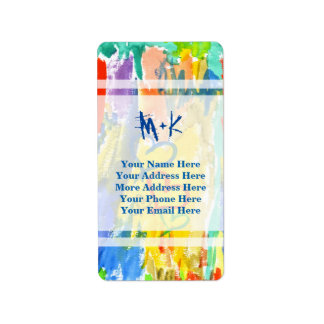 Watercolor Abstract Hearts Colorful Random Paint Address Label