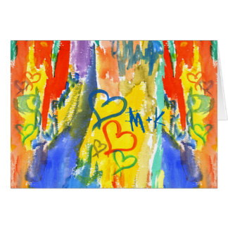 Watercolor Abstract Hearts Colorful Random Paint Greeting Card